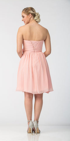 Starbox USA 6015-1 Blush Chiffon Beach Wedding Dress Knee Length Strapless Back View
