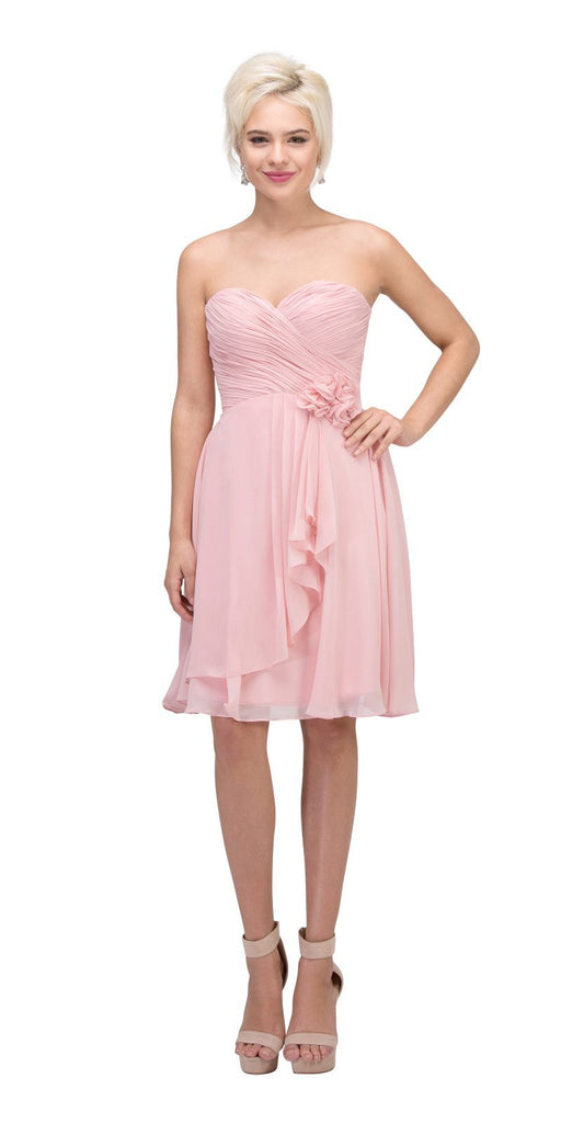 Starbox USA 6015-1 Blush Chiffon Beach Wedding Dress Knee Length Strapless