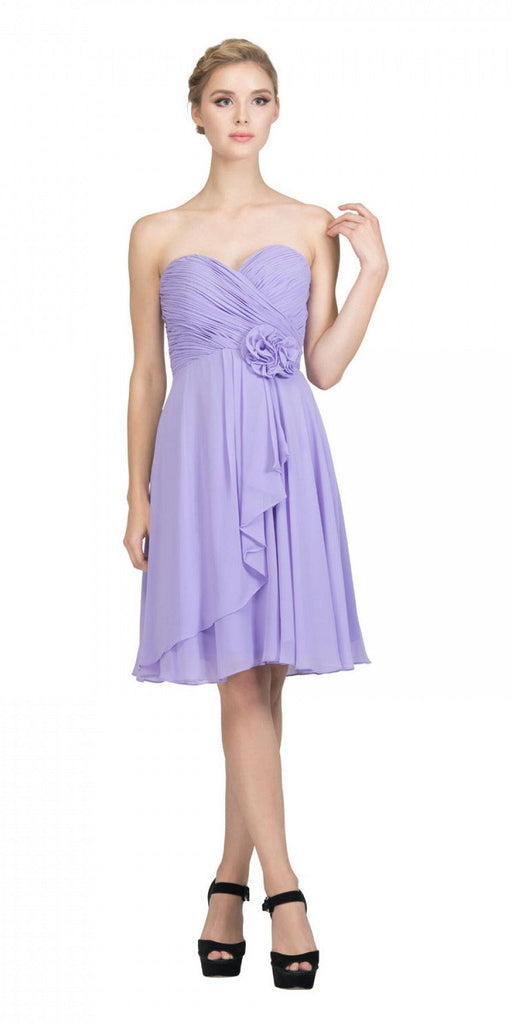 Starbox USA 6015-1 Lilac Chiffon Beach Wedding Dress Knee Length Strapless Back View