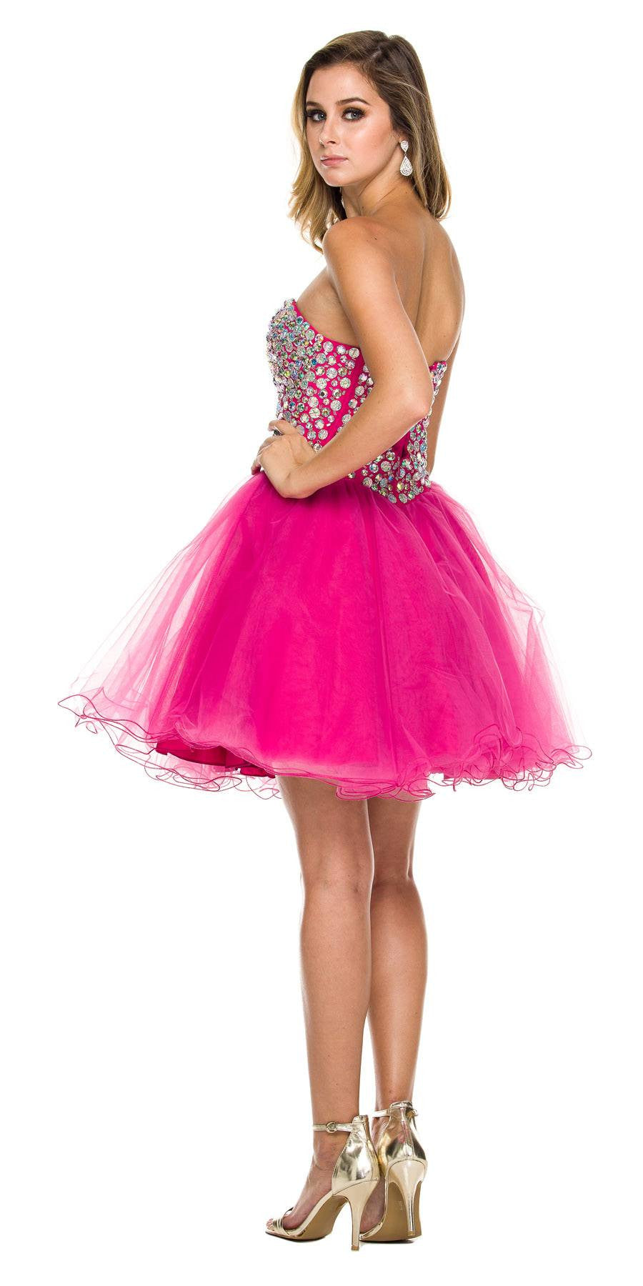 Strapless Rhinestone Embellished Bodice Short Prom Dress Fuchsia
