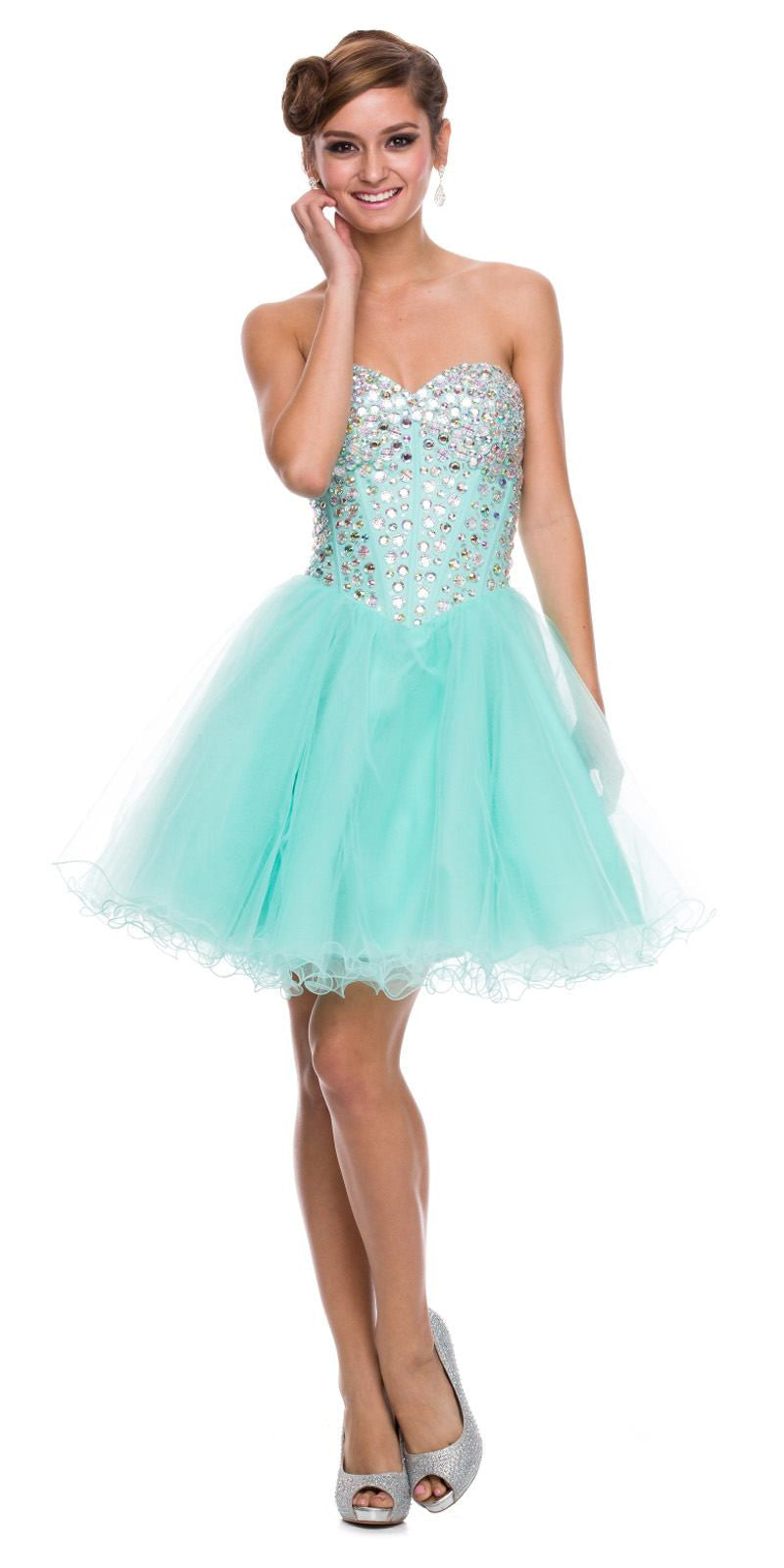 Strapless Rhinestone Embellished Bodice Short Prom Dress Mint Green