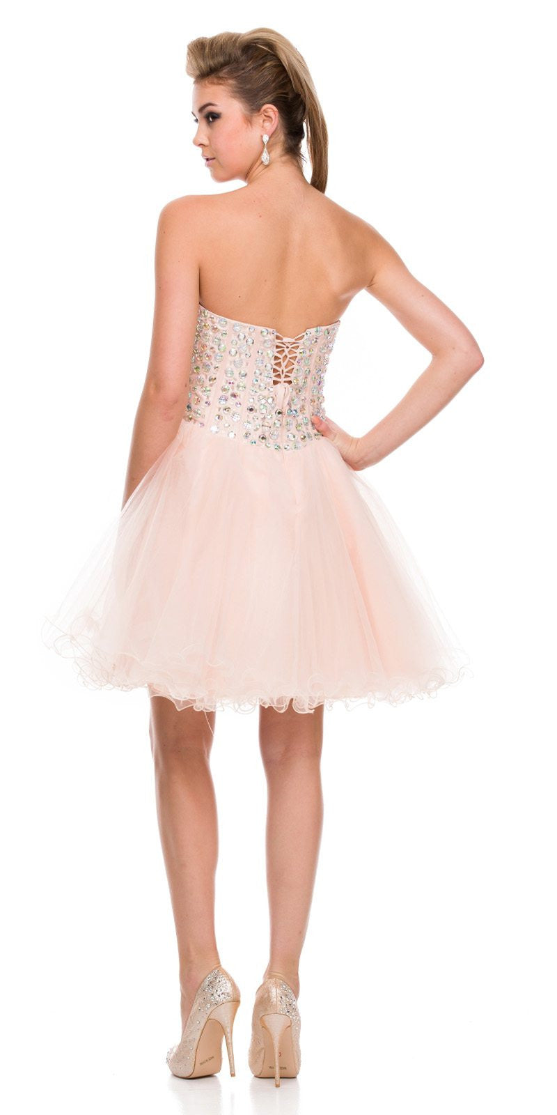 Strapless Rhinestone Embellished Bodice Short Prom Dress Nude
