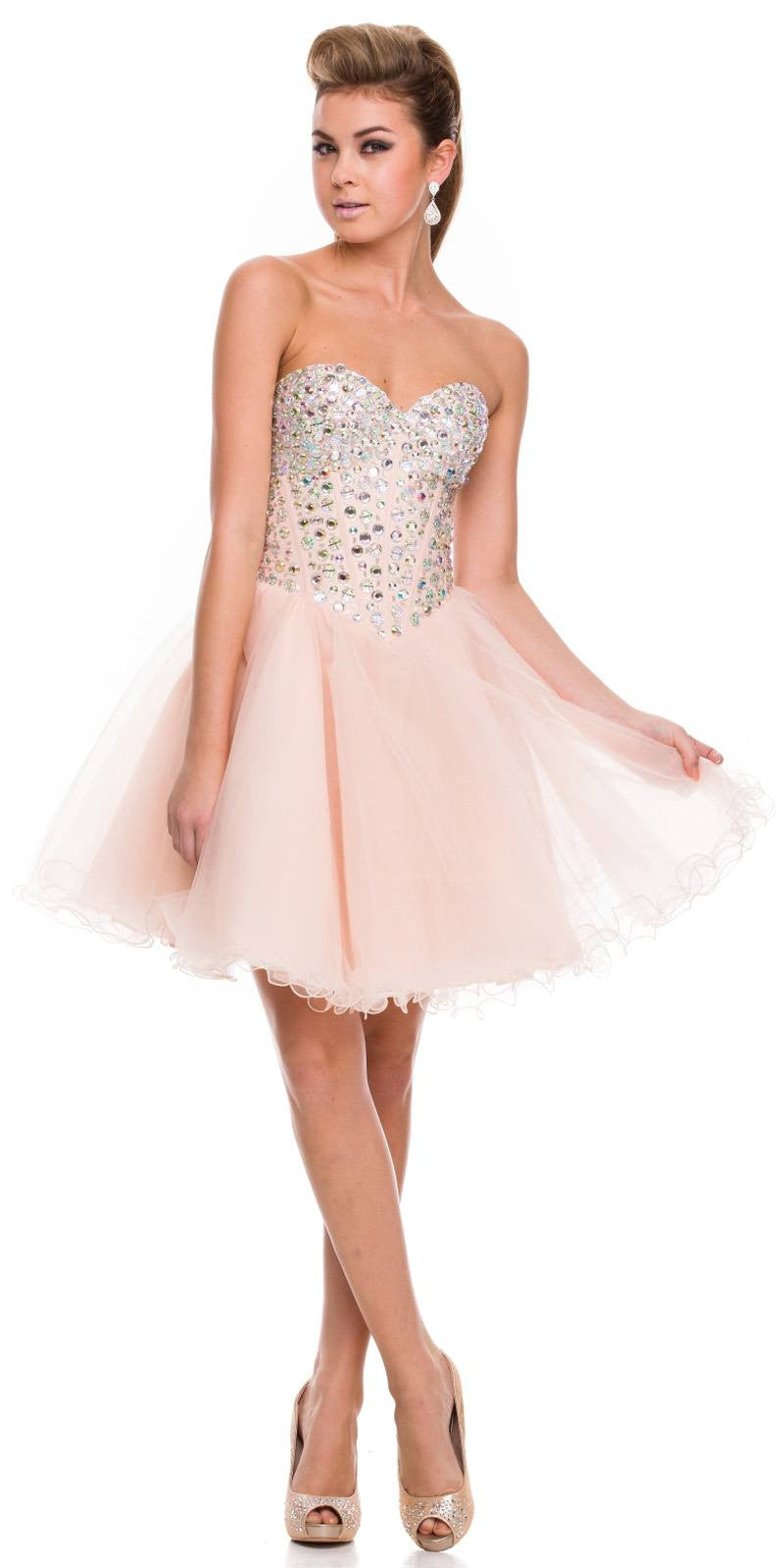 Strapless Rhinestone Embellished Bodice Short Prom Dress Nude ...