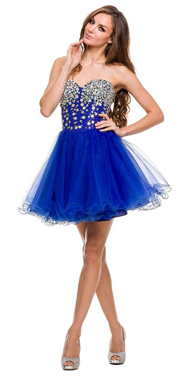 Blue Short Dress with Rhinestones