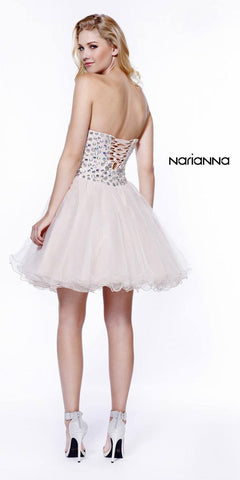 Strapless Rhinestone Embellished Bodice Short Prom Dress Tan
