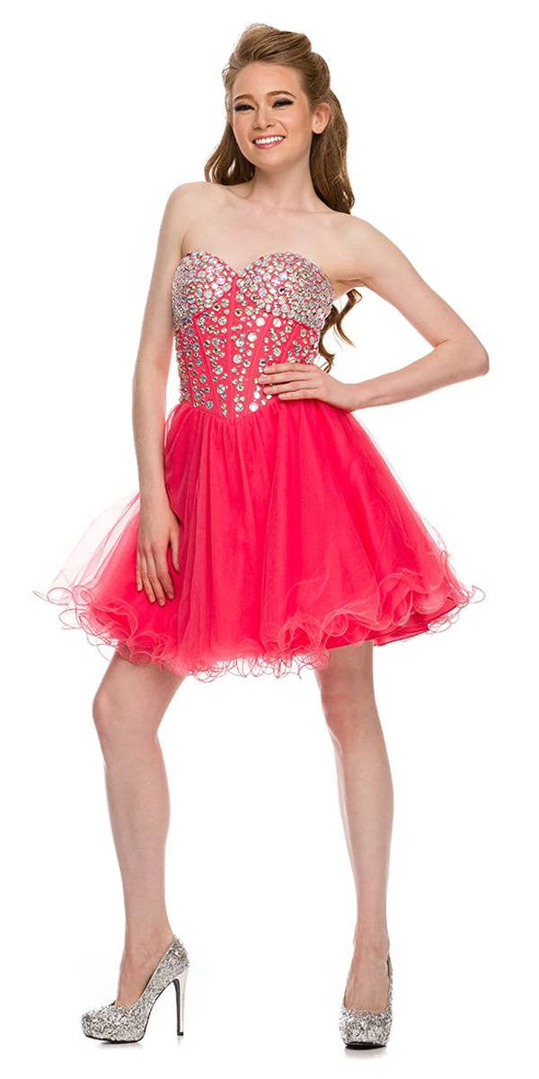 Strapless Rhinestone Embellished Bodice Short Prom Dress Watermelon