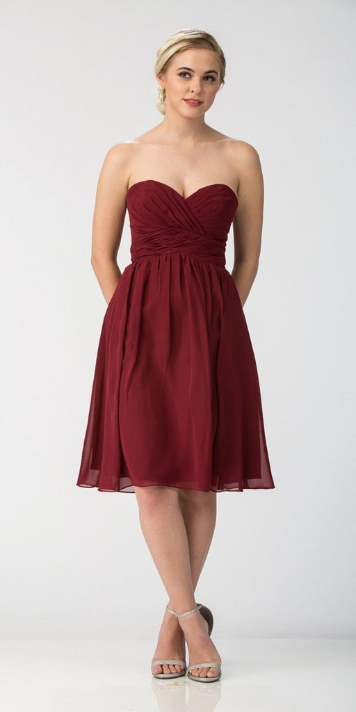 Starbox USA 6016-1 Short Knee Length Bridesmaid Dress Burgundy Chiffon Strapless