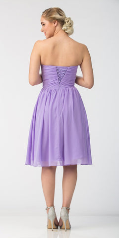 Short Knee Length Bridesmaid Dress Lilac Chiffon Strapless Back View