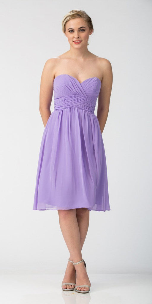 Short Knee Length Bridesmaid Dress Lilac Chiffon Strapless