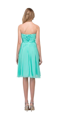 3bad57f372ac Short Knee Length Bridesmaid Dress Mint Chiffon Strapless