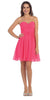 Starbox USA 6016-1 Short Knee Length Bridesmaid Dress Fuchsia Chiffon Strapless