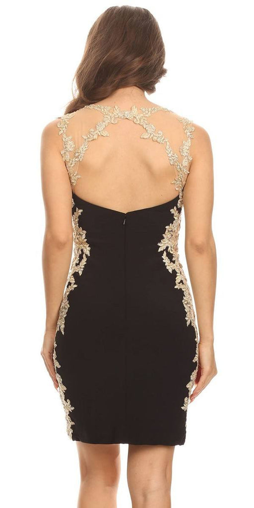 Appliqued Sweetheart Neckline Bodycon Short Prom Dress Black