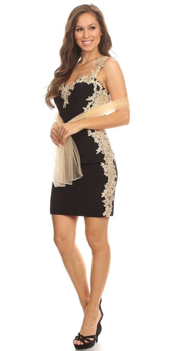 Gold and black short prom dress