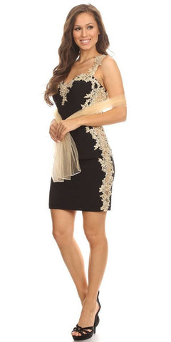 Black/Silver Metallic Short Party Dress with V-Neck and Back