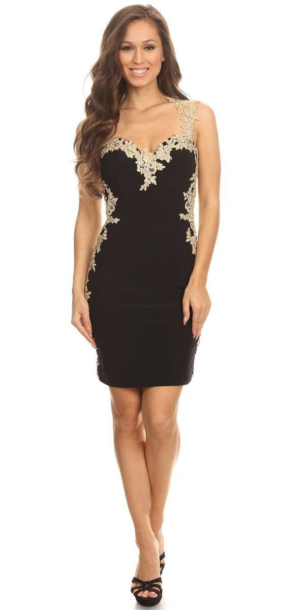 dfd897f7af8 Lace Applique Sweetheart Neckline Bodycon Short Prom Dress Red Gold ...