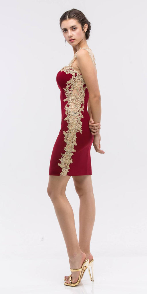 Appliqued Sweetheart Neckline Bodycon Short Prom Dress Burgundy Side