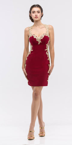 Appliqued Sweetheart Neckline Bodycon Short Prom Dress Burgundy