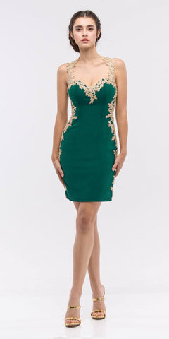 Appliqued Sweetheart Neckline Bodycon Short Prom Dress Hunter Green