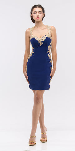 Eureka 6016 Navy Blue/Gold Lace Applique Sweetheart Neckline Bodycon Short Prom Dress