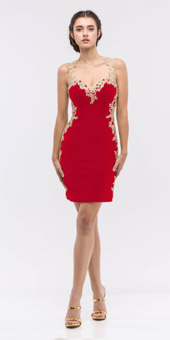 Appliqued Sweetheart Neckline Bodycon Short Prom Dress Red