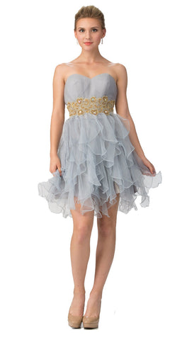 Studded Strapless Short Ruffled Skirt Silver/Gold Party Dress