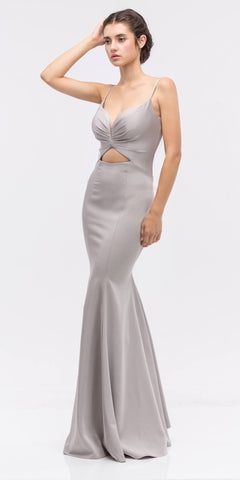 Silver Sweetheart Neckline Mermaid Satin Prom Gown with Cut-Out
