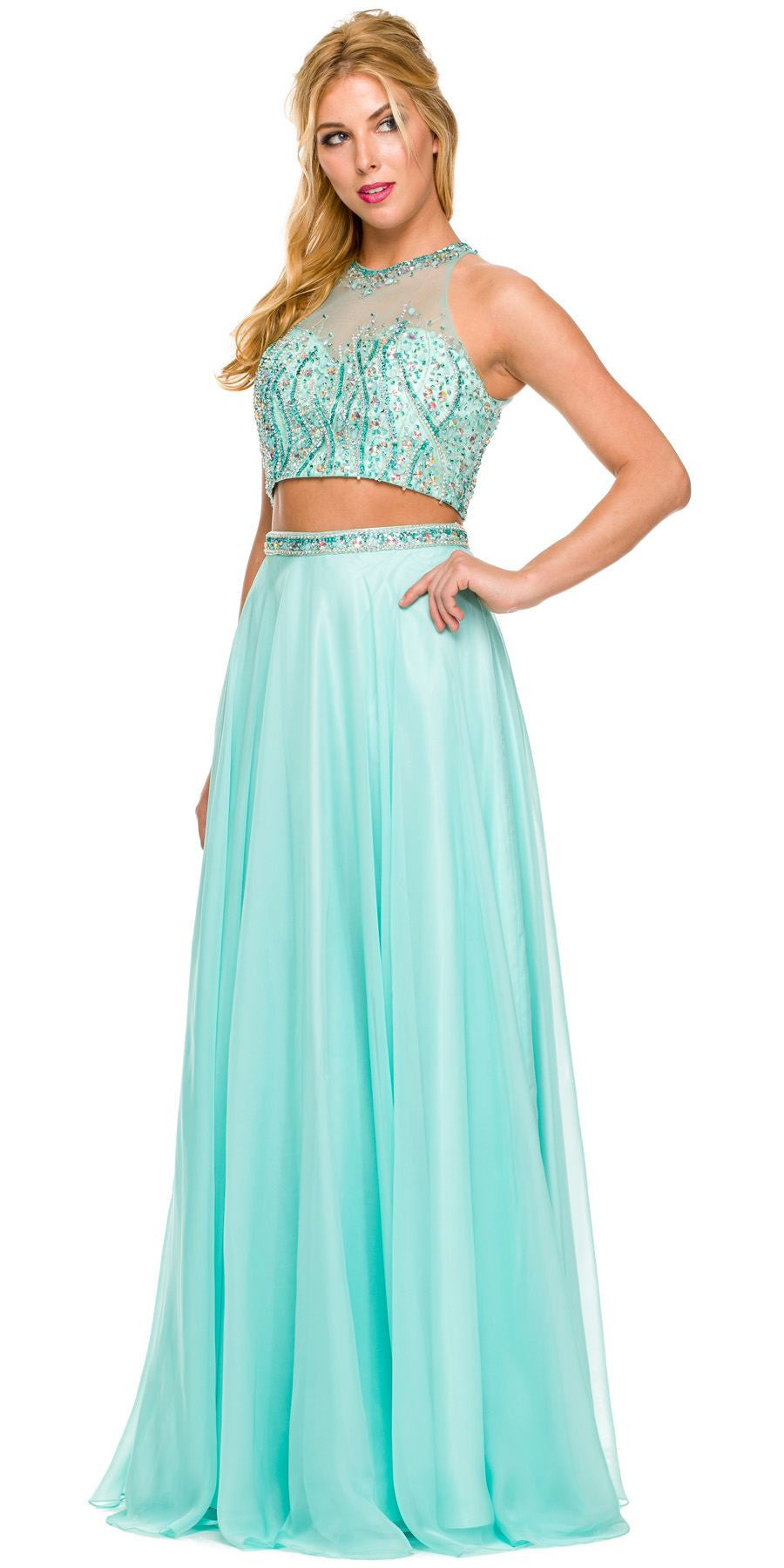 ddad423a85 Long 2 Piece Gown Jade High Neck Rhinestone Top Keyhole Back. Tap to expand