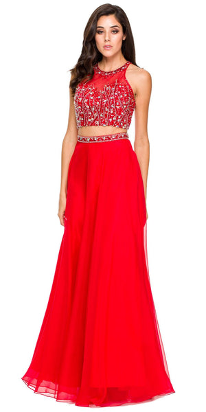 Long 2 Piece Gown Red High Neck Rhinestone Top Keyhole Back