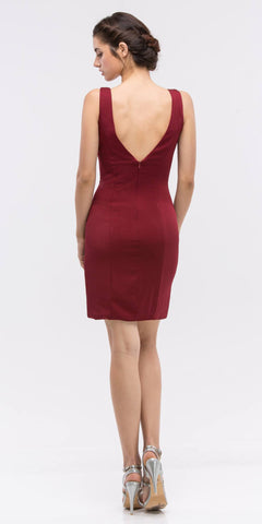 Burgundy Bodycon Short Cocktail Dress V-Neckline with Sheer Inset