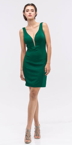 Hunter Green Bodycon Short Cocktail Dress V-Neckline with Sheer Inset