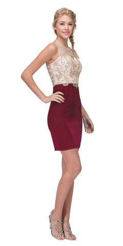 Burgundy/Gold Beaded Top Short Party Dress Sleeveless