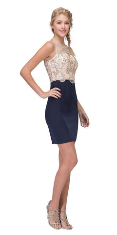 Navy Blue/Gold Beaded Top Short Party Dress Sleeveless