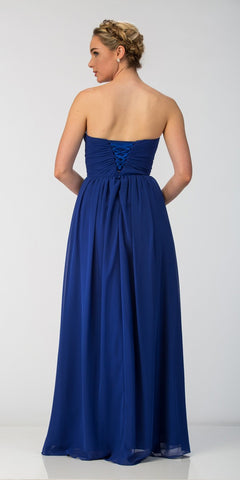 Starbox USA 6023-1 Classic Chiffon Semi Formal Gown Royal Blue Long Strapless Sweetheart Back View