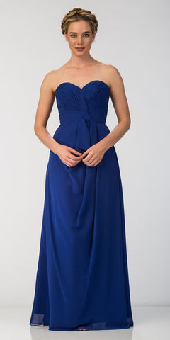 Starbox USA 6023-1 Classic Chiffon Semi Formal Gown Royal Blue Long Strapless Sweetheart