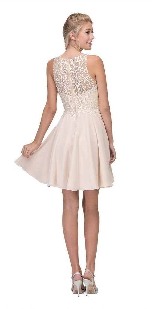 Lace Appliqued A-Line Homecoming Short Dress Champagne