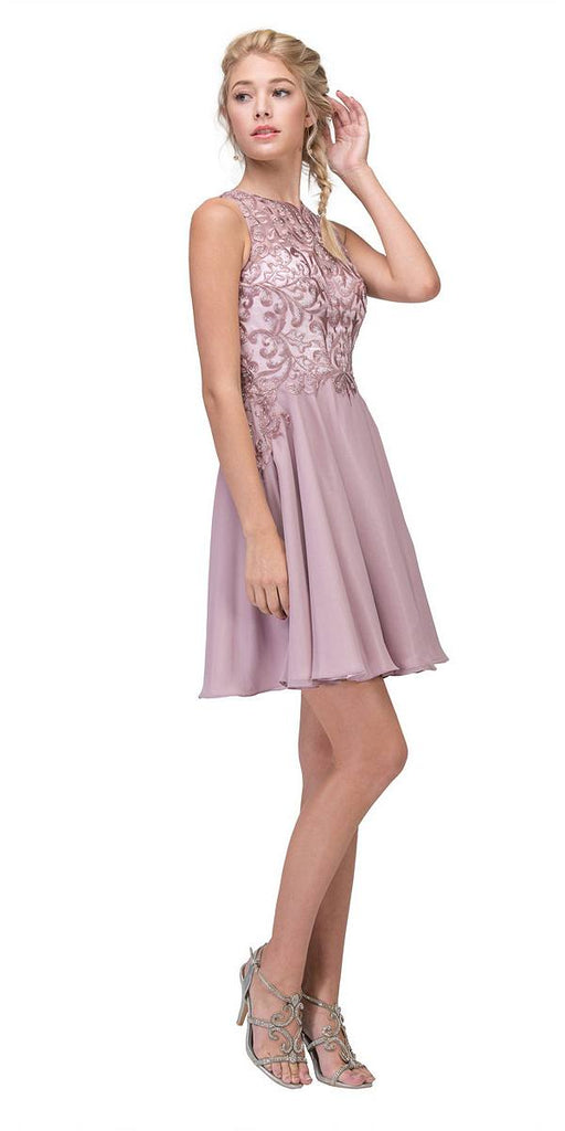 Lace Appliqued A-Line Homecoming Short Dress Mocha