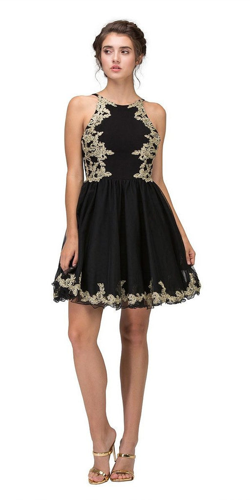 Eureka Fashion 6026 Black Homecoming Short Dress with Gold Appliques