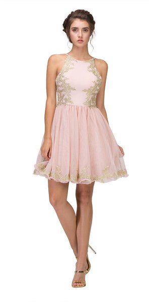 Blush Homecoming Short Dress with Gold Appliques