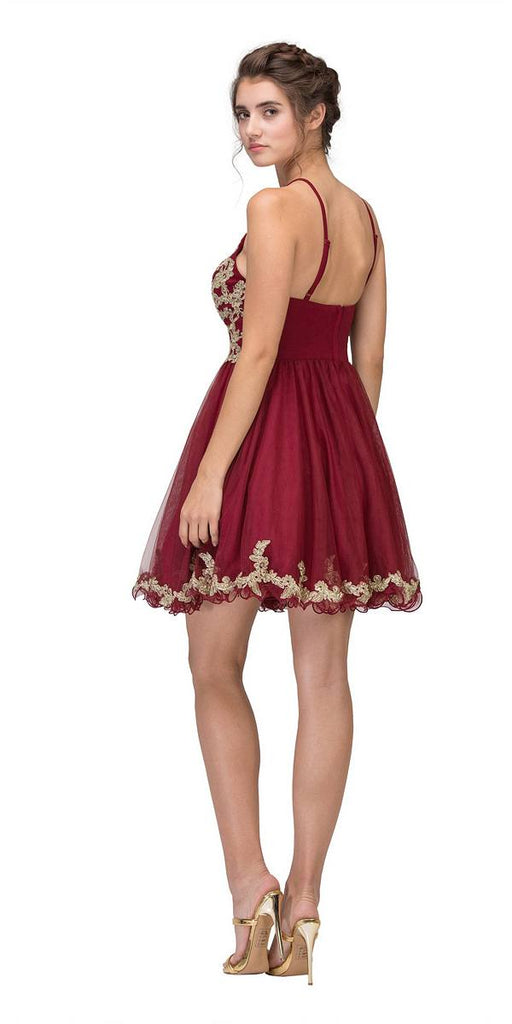 Burgundy Homecoming Short Dress with Gold Appliques