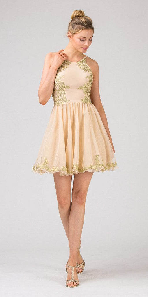 Eureka Fashion 6026 Champagne Homecoming Short Dress with Gold Appliques