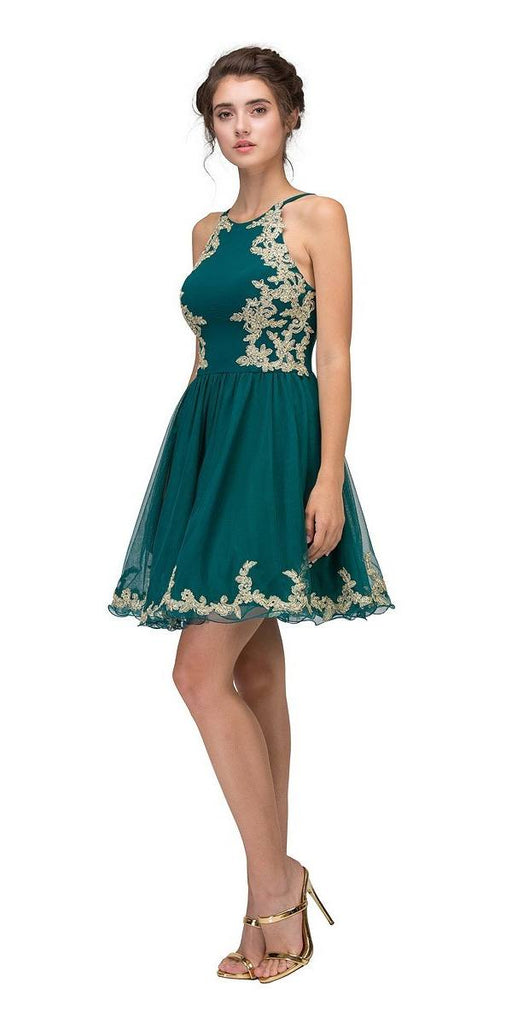 Eureka Fashion 6026 Hunter Green Homecoming Short Dress with Gold Appliques