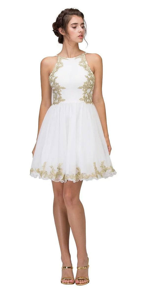Eureka Fashion 6026 Ivory Homecoming Short Dress with Gold Appliques
