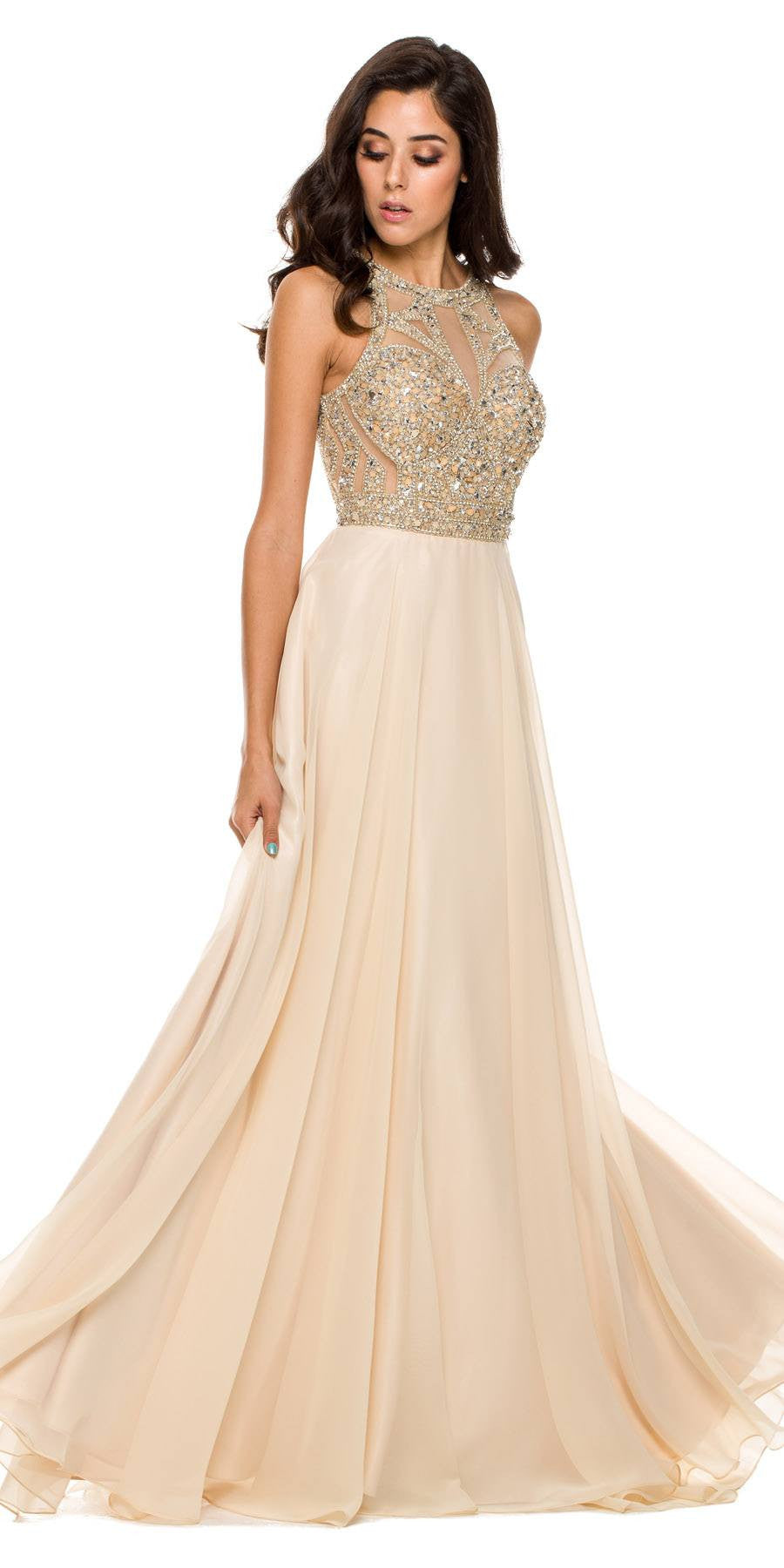 Floor Length Prom Gown Champagne Rhinestone Bodice Keyhole Back