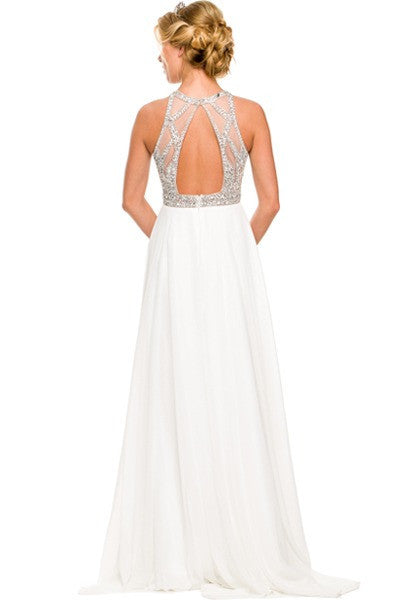 Floor Length Prom Gown Off White Rhinestone Bodice Keyhole Back