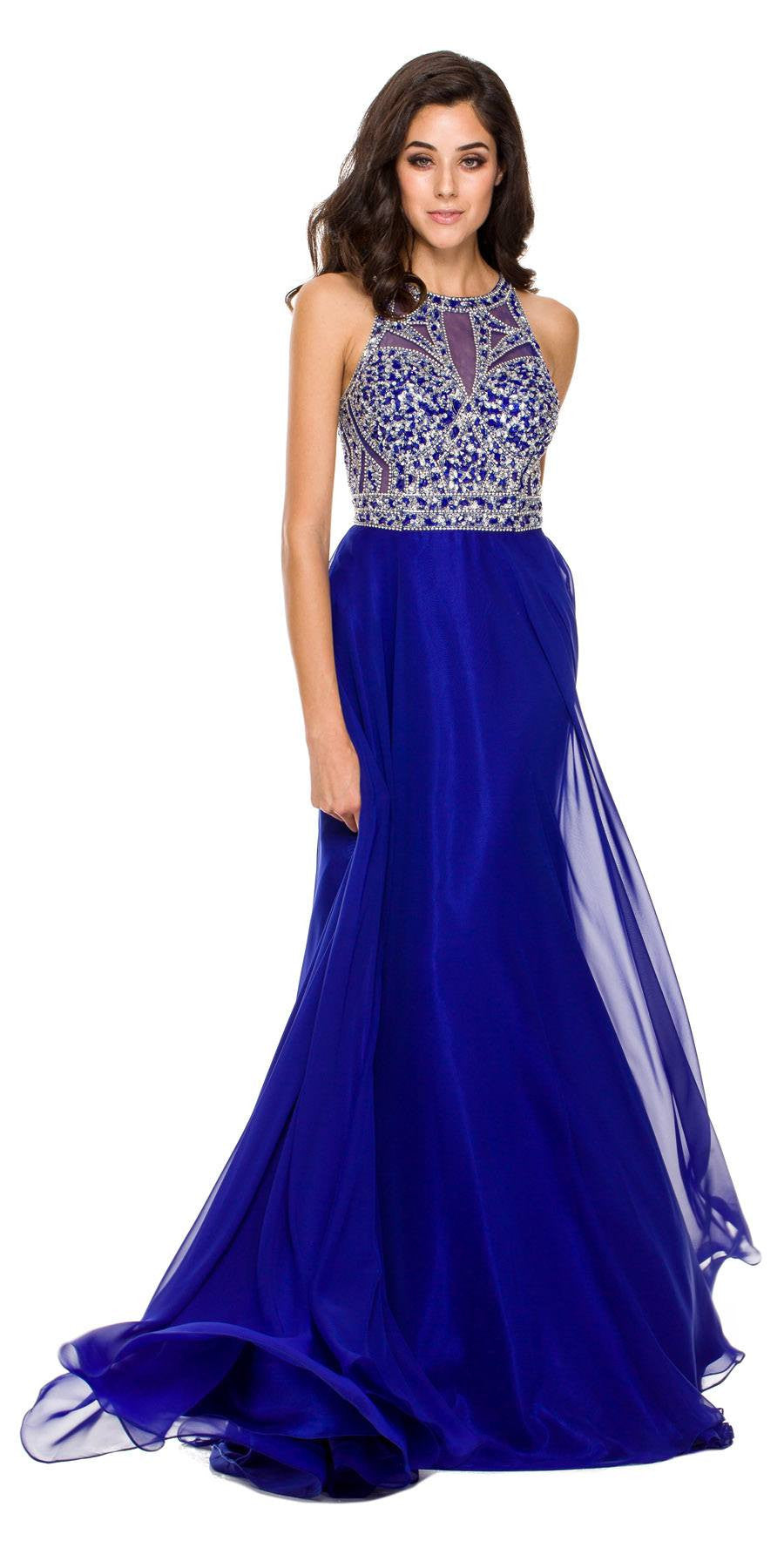 Floor Length Prom Gown Royal Blue Rhinestone Bodice Keyhole Back ...