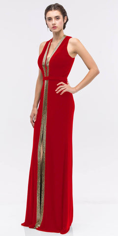 Red/Gold Plunging Neck Sleeveless Fit and Flare Evening Gown