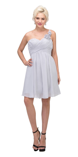 One Shoulder Ruched Bodice Silver Chiffon Bridesmaid Dress