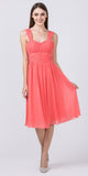Starbox USA 6032 Coral Knee Length Bridesmaid Dress Ruched-Bodice