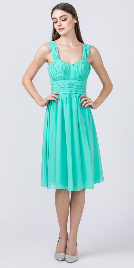 Starbox USA 6032 Mint Knee Length Bridesmaid Dress Ruched-Bodice