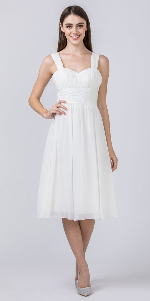 Starbox USA 6032 Off White Knee Length Bridesmaid Dress Ruched-Bodice